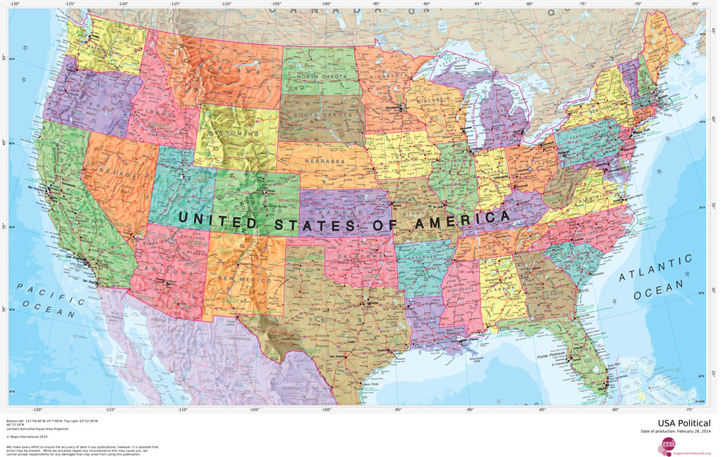 MapSherpa Maps International - Us map with all cities